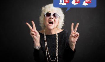 Alte Frau rockt auf Facebook mit Sonnenbrille
