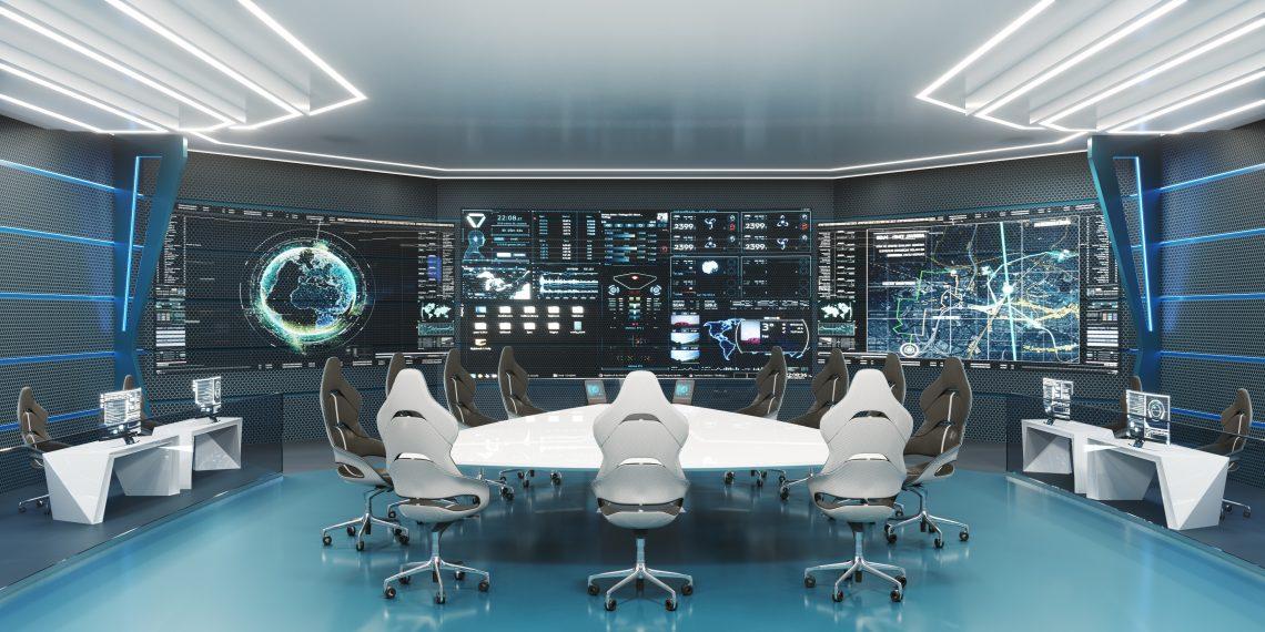 futuristischer Konferenzraum / Krisenstabsraum